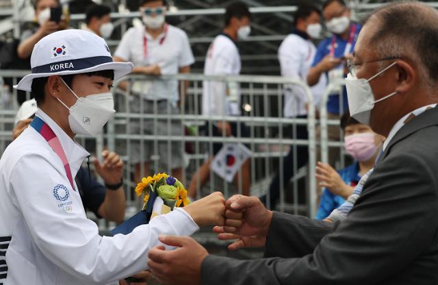 """현대차그룹, 양궁 선수에 통큰 포상금 '19억'... 안산 """"정의선 회장 '굿 럭' 인사 큰 격려"""""""