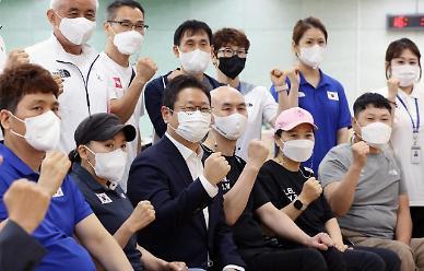 대한민국 패럴림픽 선수단 격려한 황희 문체부 장관