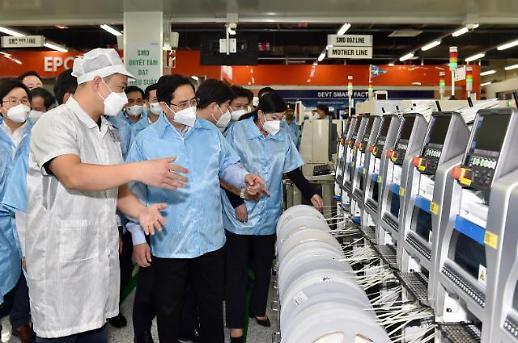 Thủ tướng tới thăm nhà máy sản xuất của Samsung tại Thái Nguyên