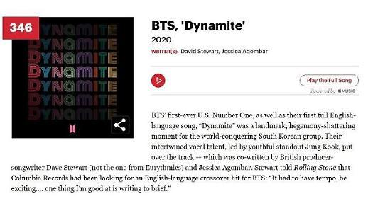 《Dynamite》入围《滚石》评选历史上最伟大500首歌曲
