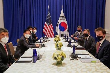 한미일·한미 연쇄 외교장관 회담…文 종전선언 지지 호소