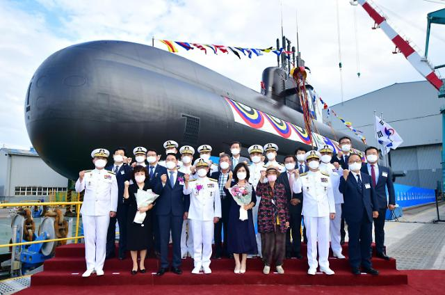 [포토] 3천t급 잠수함 3번함 '신채호함' 진수
