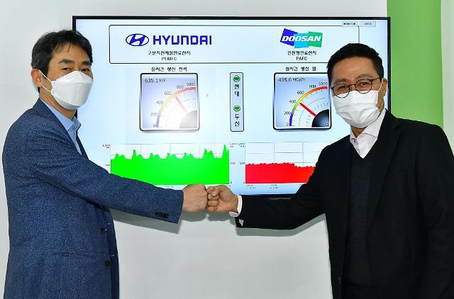 현대차·기아·두산퓨얼셀, 수소연료전지 발전시스템 실증…재생에너지 변동성 보완