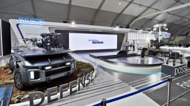 Hyundai Rotems leg-wheel military robot makes debut at aerospace and defense exhibition