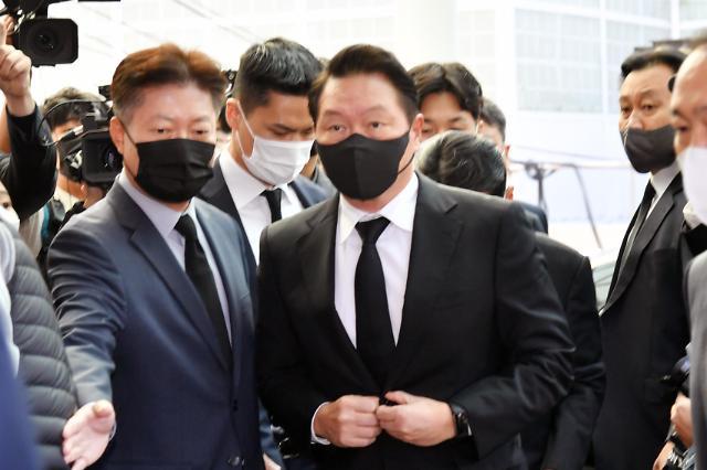 [포토] 노태우 전 대통령 빈소 도착한 최태원 SK그룹 회장